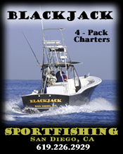Blackjack Sportfishing - Running up to 4-Pack trips out of Dana Landing, San Diego on Mission Bay 619.226.2929